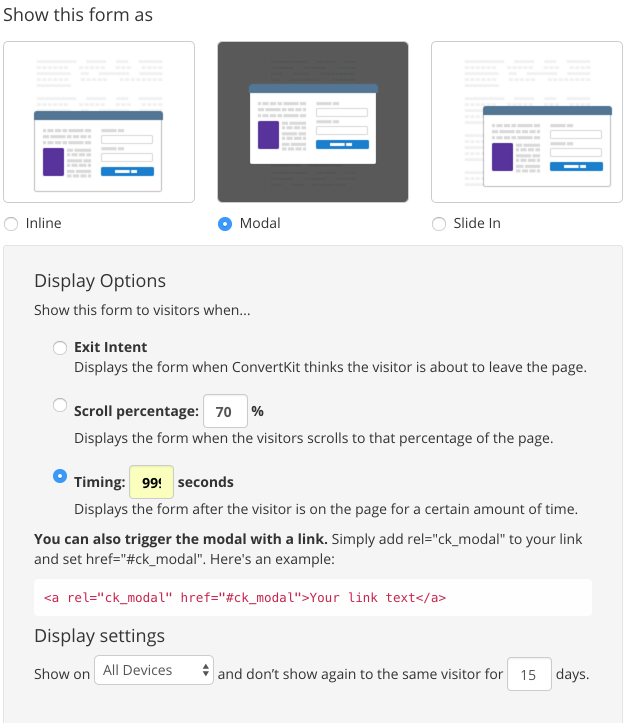 ConvertKit Modal Form Settings via melissathorpe.com